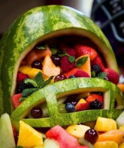 football helmet fruit salad