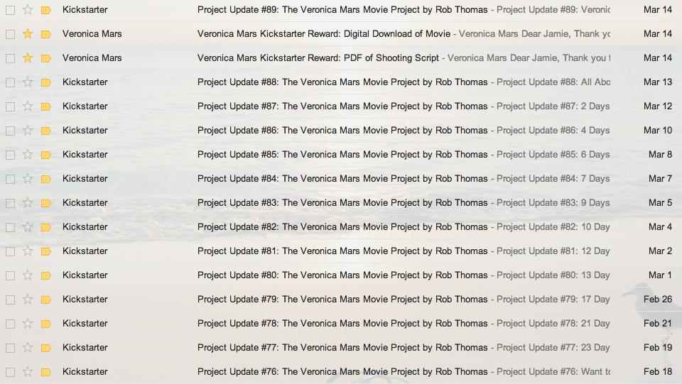 Veronica Mars Backer Emails