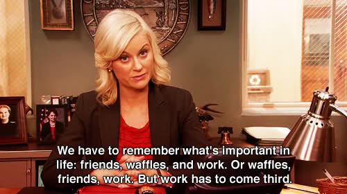 Waffles Friends Work - Parks and Rec