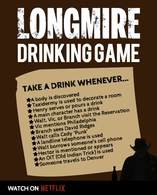 Longmire Drinking Game